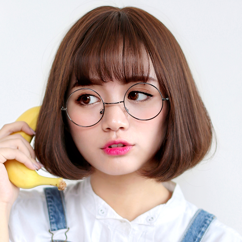 Bai america square wig female short hair short hair bobo head grandmother gray korean air bangs short hair short straight hair wig students