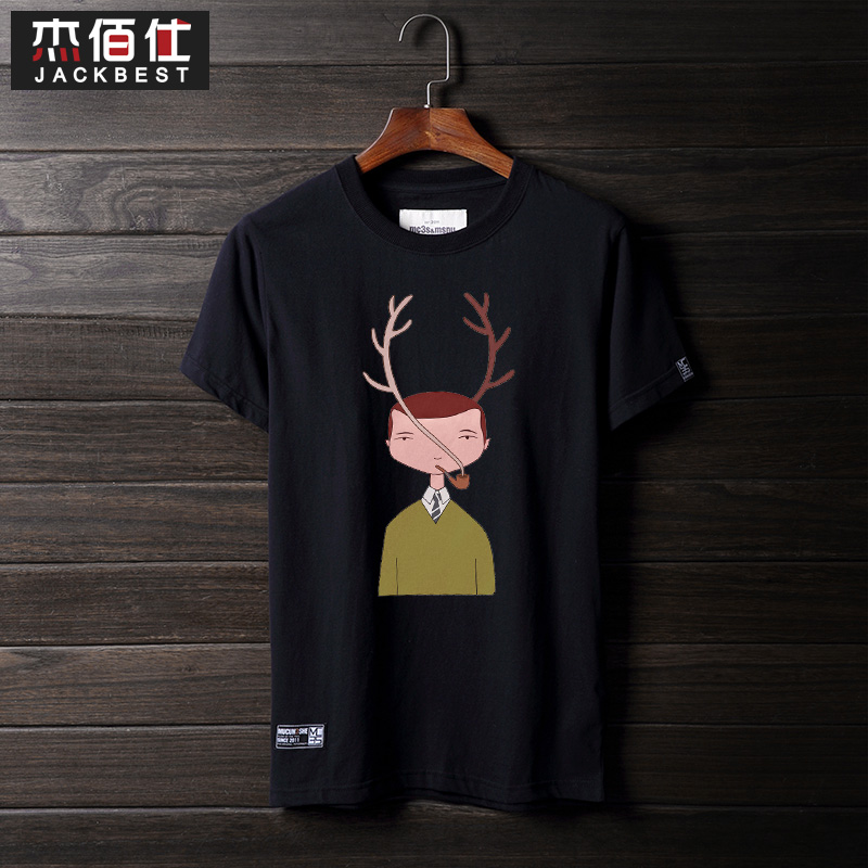 Bai jie shi personalized cartoon cotton summer men's round neck short sleeve t-shirt xl loose sleeve dress tide