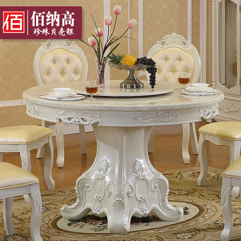 Bai satisfied high european furniture natural marble dining table solid wood dining table idyllic french luxury leather chair