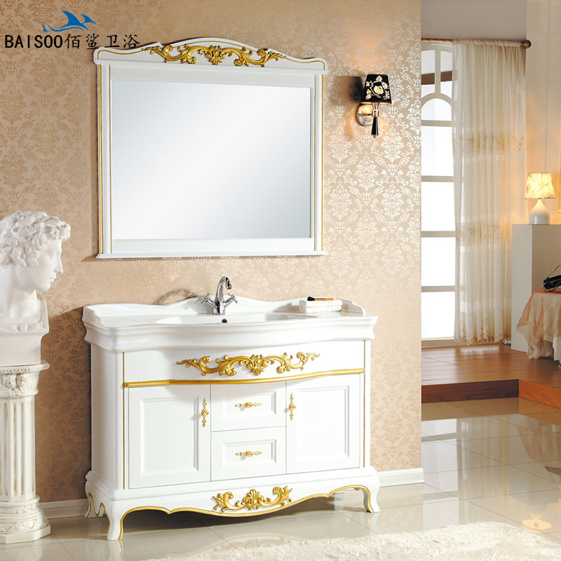 Bai shark european antique bathroom cabinet oak floor bathroom cabinet bathroom cabinet counter basin combination washbasin cabinet bathroom mirror cabinet