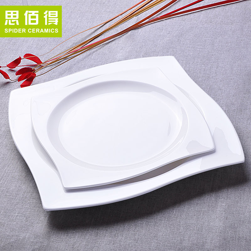Bai was thinking of creative bone china tableware household dish flat plate fish dish large european creative ceramic plate flat plate