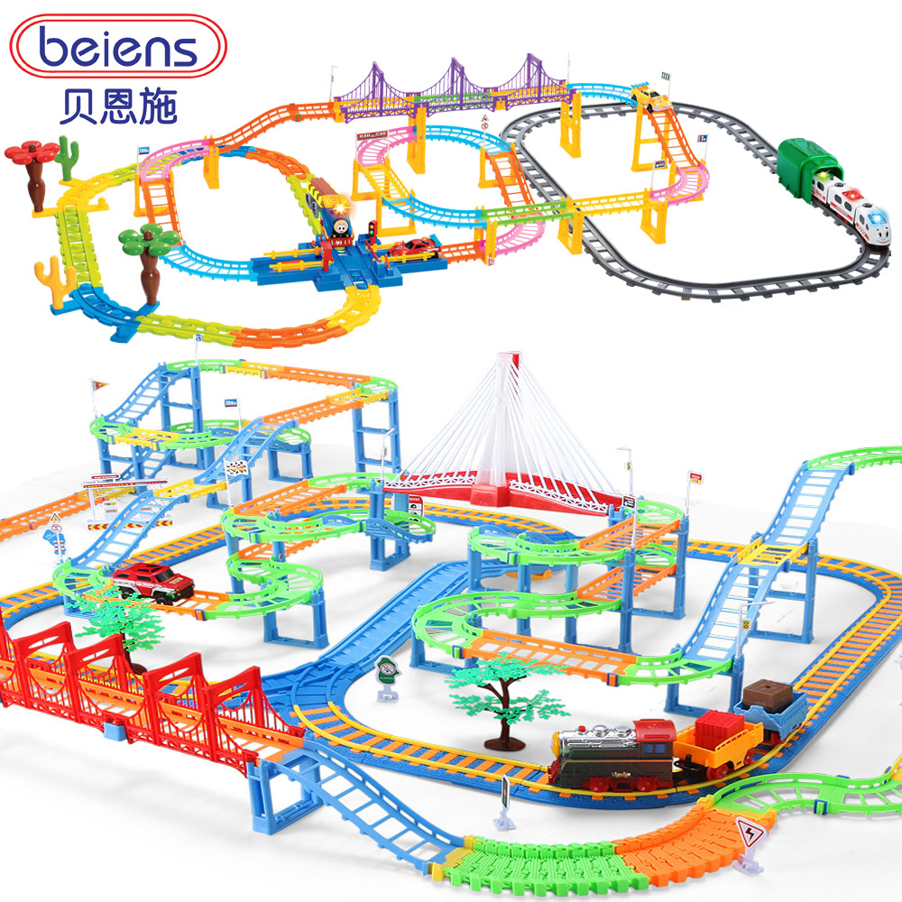 Bain shi children's electric train track car toy train track suit small male child car toy
