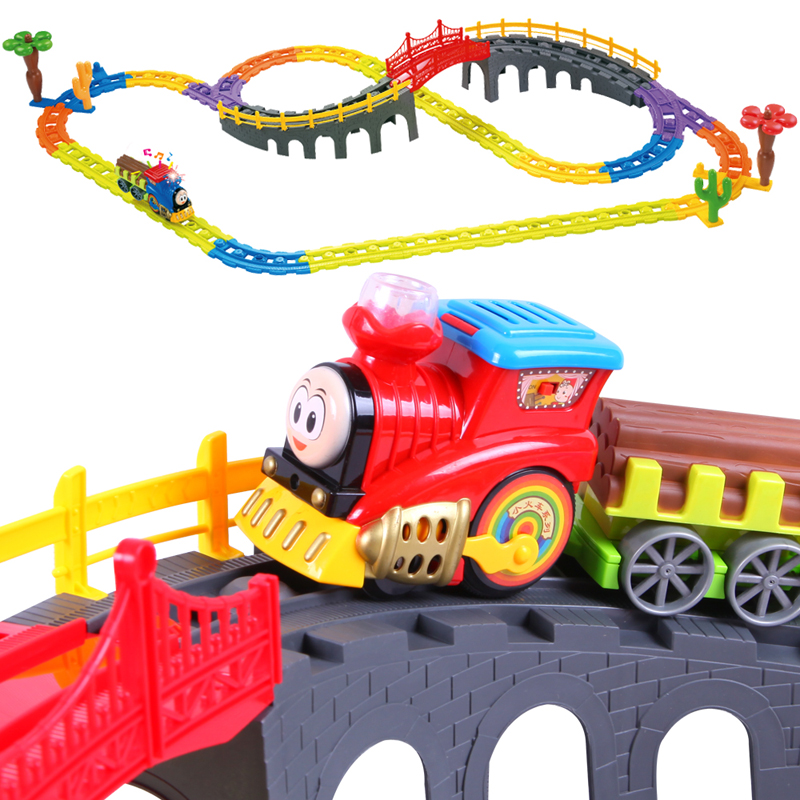 Bain shi children's electric train track train simulation model stitching track suit children's educational toys