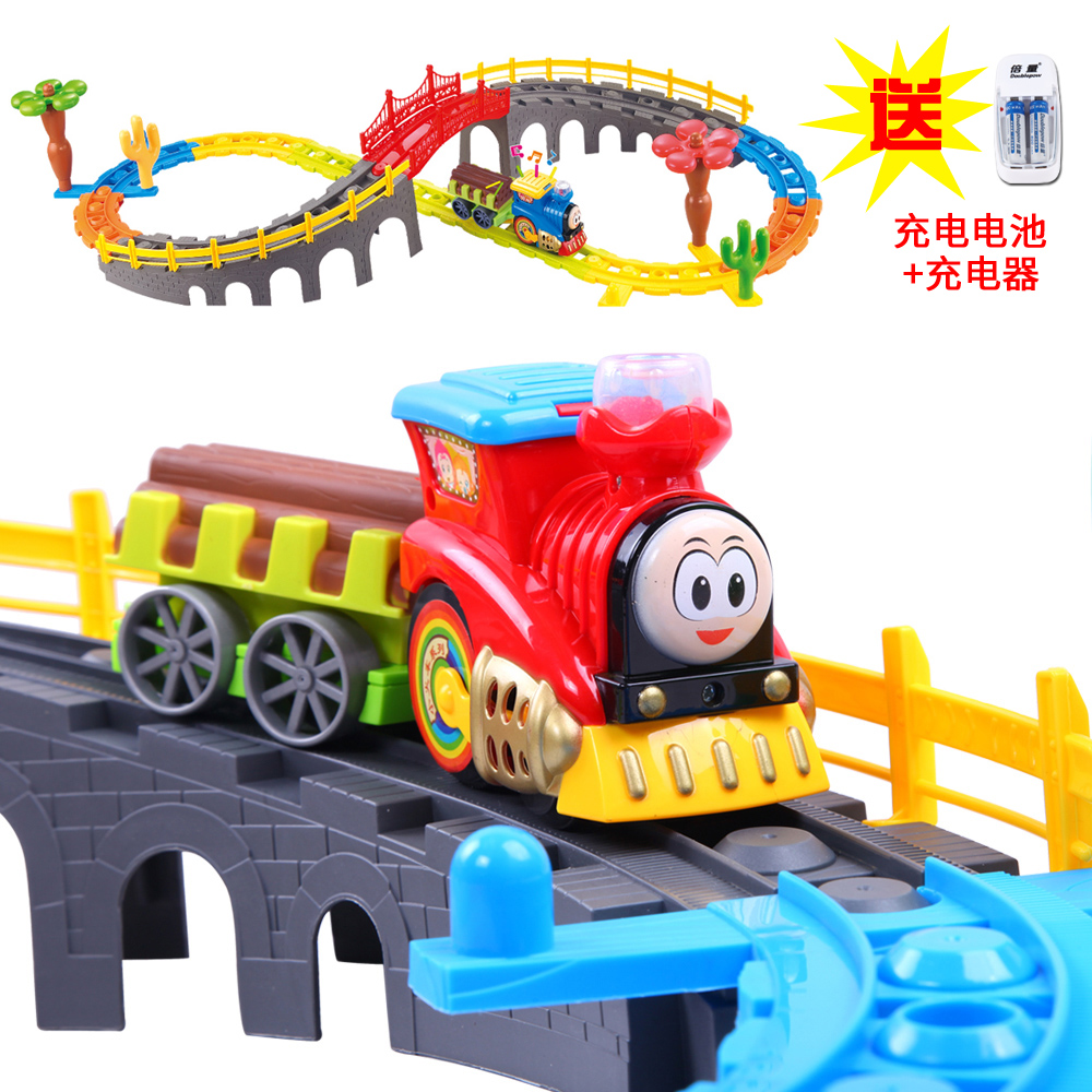 Bain shi train electric train track toy train children's educational toys music train track suit