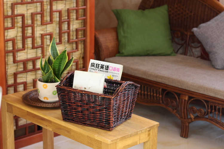 Bamboo and rattan wicker storage basket storage basket books and magazines忆园non rattan basket picnic basket gift basket of fruit wine rack