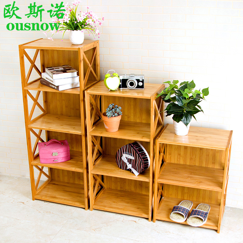 Bamboo bookcase bookcase combination of simple children's shelves simple wood bookcase storage lockers special offer free shipping