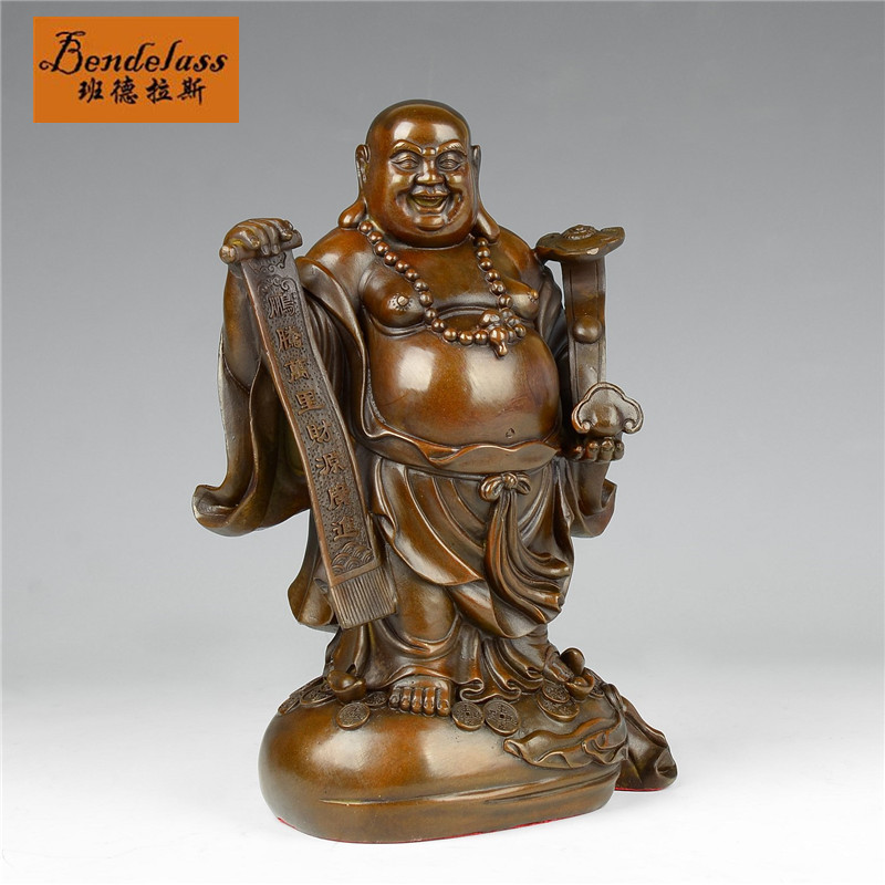 Banderas archaized copper modern living room den home decorations ornaments laughing buddha maitreya buddha gold bag