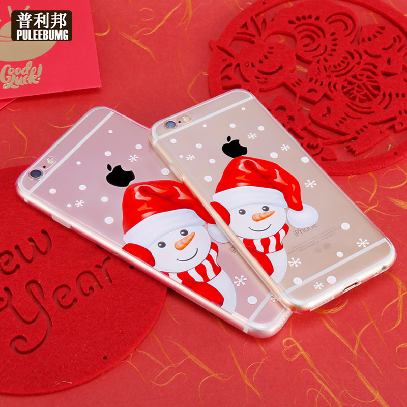 Bang pully iphone6s plus p shell full edging apple phone shell drop resistance creative christmas snowman