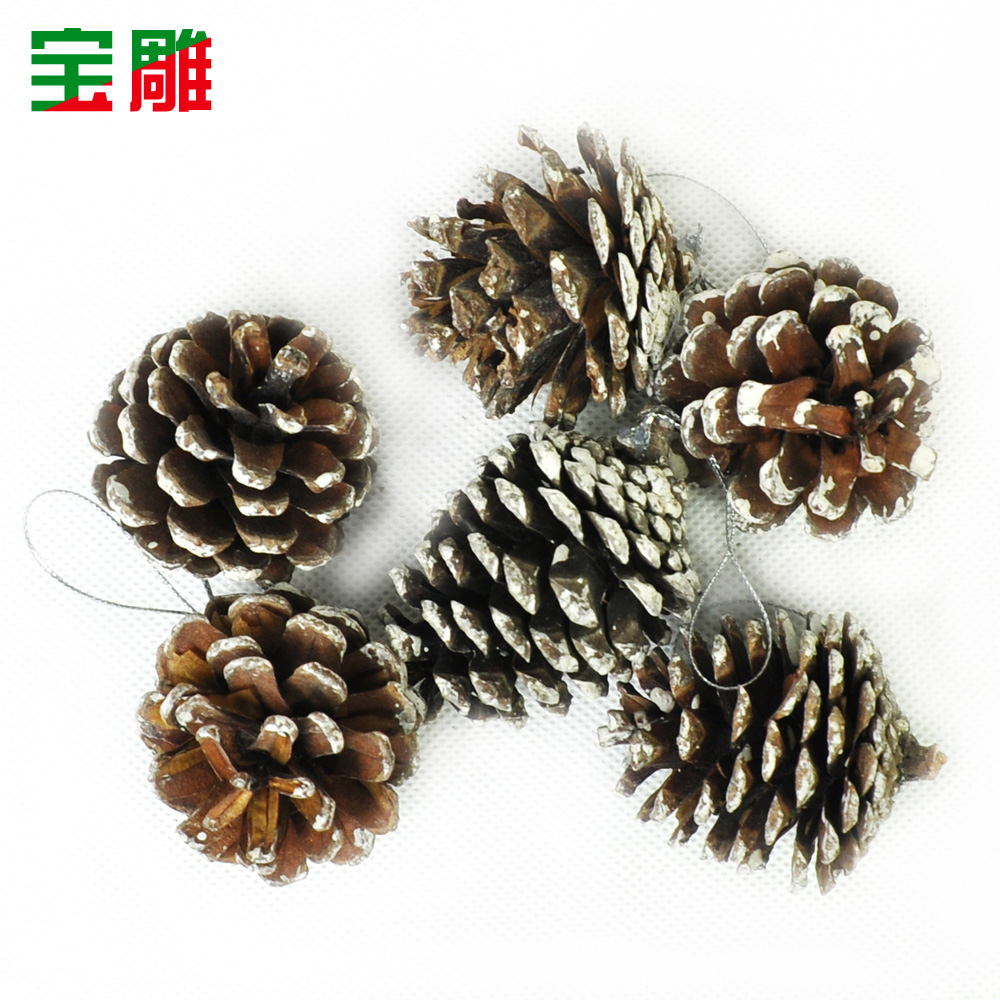 Bao carved christmas decorations christmas tree ornaments pineal pinecone ornaments accessories white 6/pack