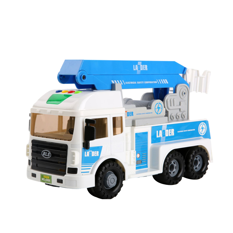 Bao le star inertia back truck mixer truck crane truck ladder truck toy car model for children music story car