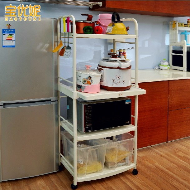 Bao ni excellent kitchen microwave oven rack shelving floor mobile kitchen storage rack storage rack 1209