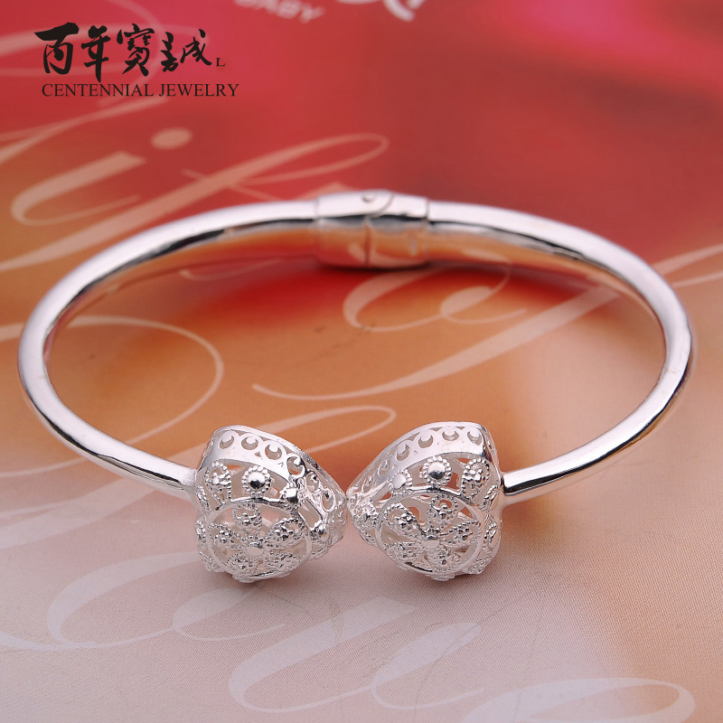 Baozen hundred new fine silver hollow silver bracelet silver bracelet korean version of sweet and lovely peach heart to send female friends