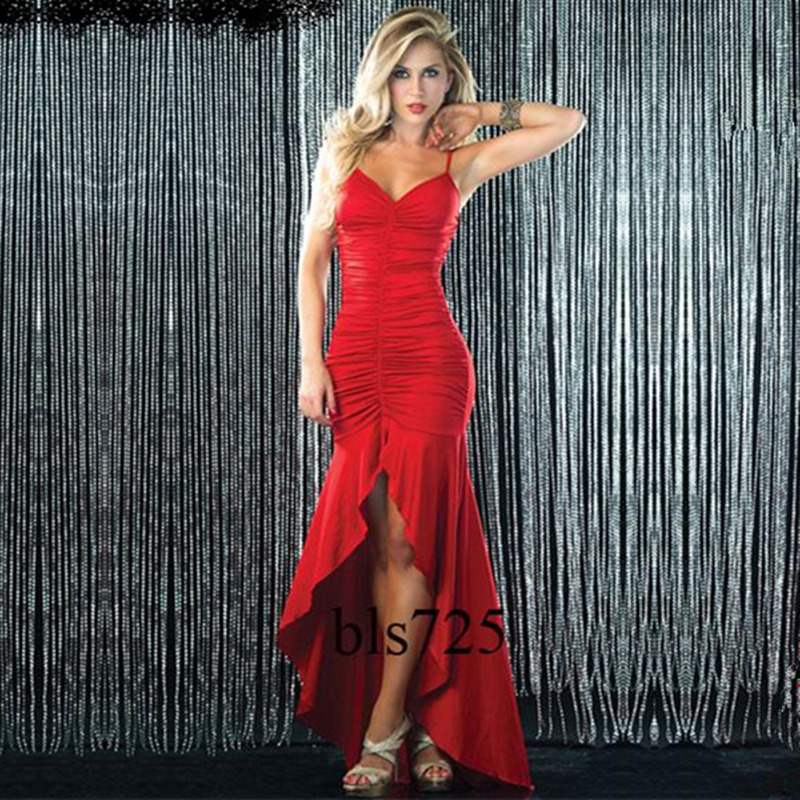 Bar stage costumes big sexy strapless slim long evening dress company annual meeting banquet party queen