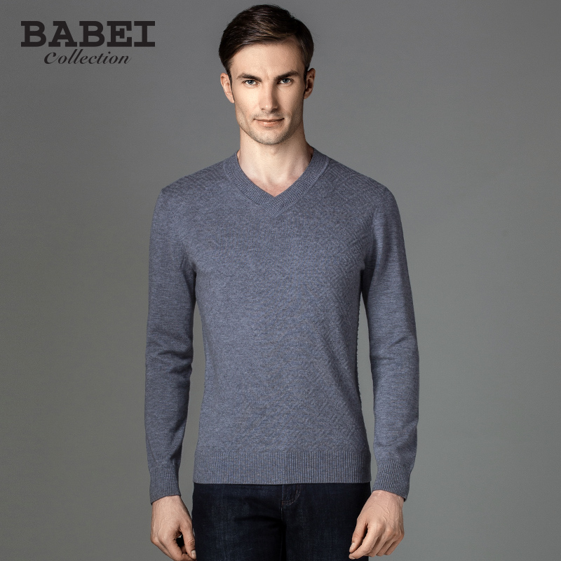 Barbados counter high pure wool men's v-neck pullover sweater business casual solid color sweater