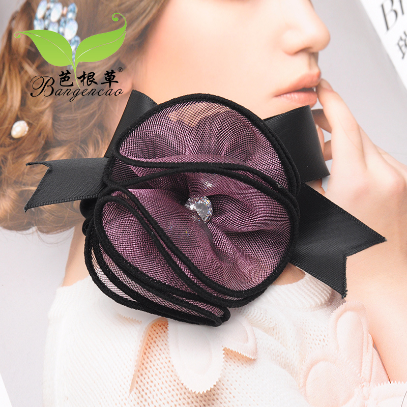 Barbie blades of grass korea handmade cloth roses flower head flower silk yarn leather tendon tousheng hair tie hair ring hair accessories headdress