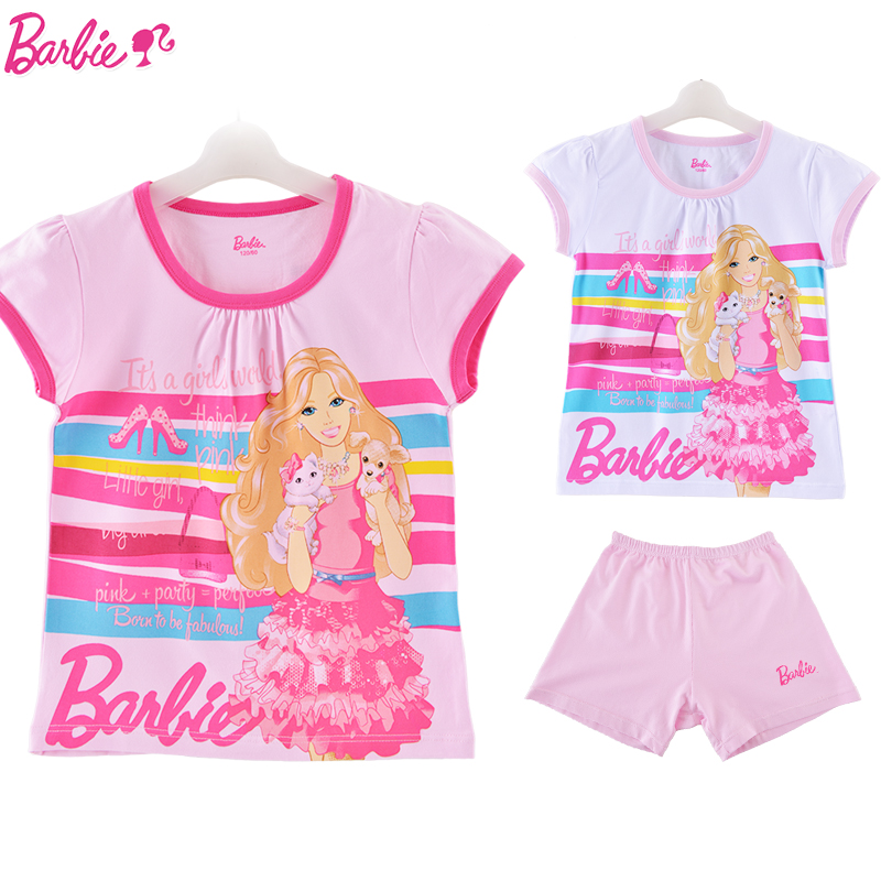 Barbie princess cotton children's underwear suit girls summer suit girls short sleeve t-shirt spring models pajamas