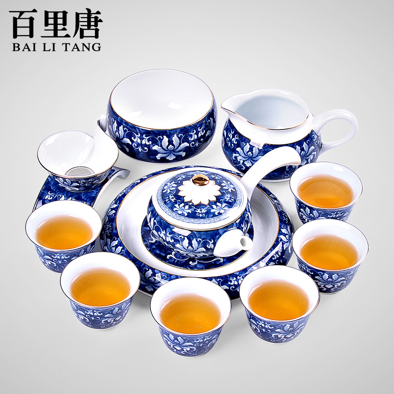 Barry tang creative boutique entire ceramic blue and white porcelain tea sets tea tea tureen kung fu tea tea wash