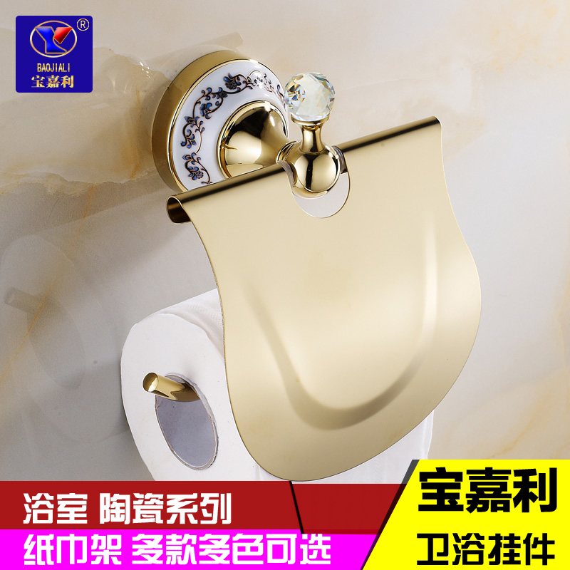 Bathroom continental rose gold plated stainless steel toilet paper rewinder roll holder towel rack tissue boxes metal pendant