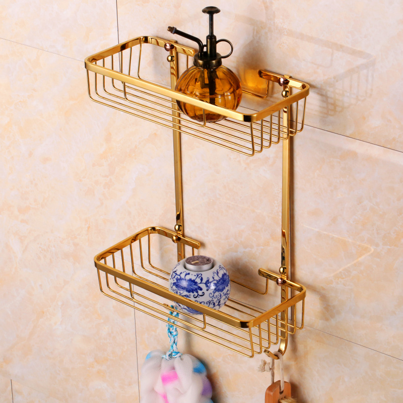 Bathroom hardware pendant square all copper european classical golden double basket rack bathroom shelf with double hook