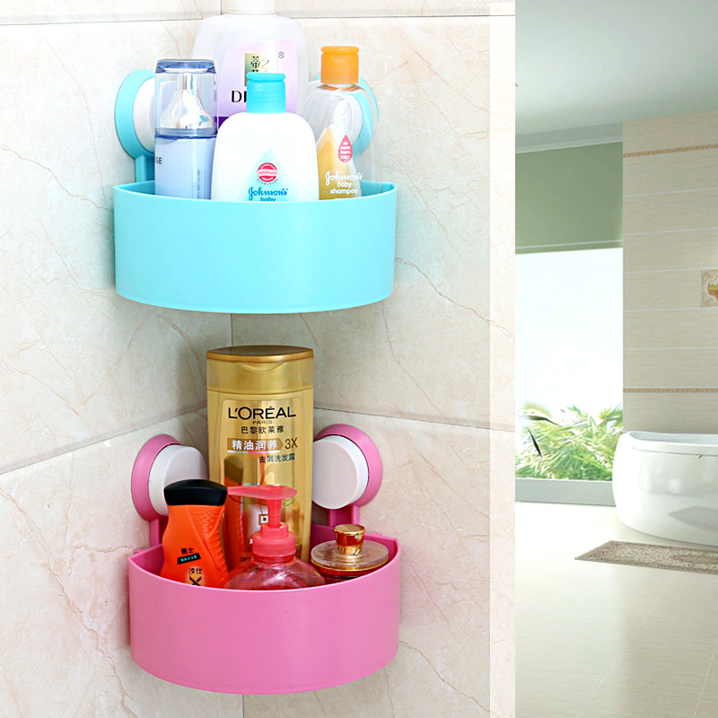 Bathroom shelf bathroom shelf sucker triangle bathroom shelf storage rack finishing frame storage rack wall suction box