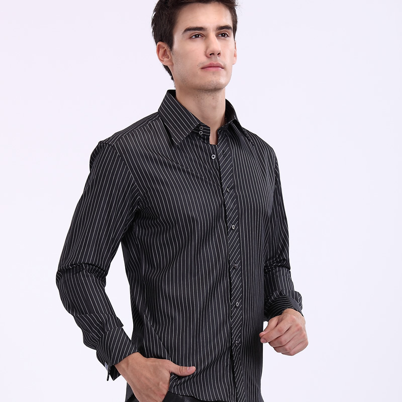 Bayer baaler french shirt business shirt cotton shirt black satin stripes wrinkle