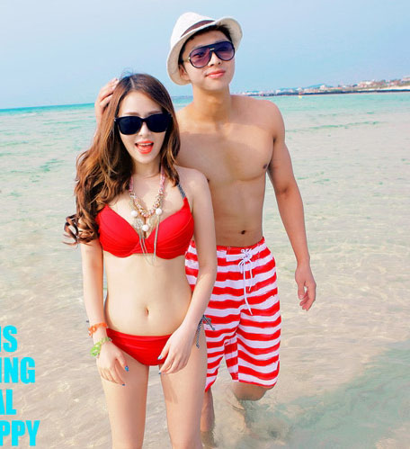 Beach lovers bali seaside resort beach lovers couple beach pants female with a steel toby gini swimsuit