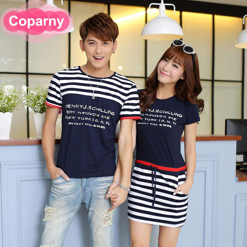 Beach lovers summer 2016 new south korean summer fashion slim short sleeve lovers t-shirt large size dress