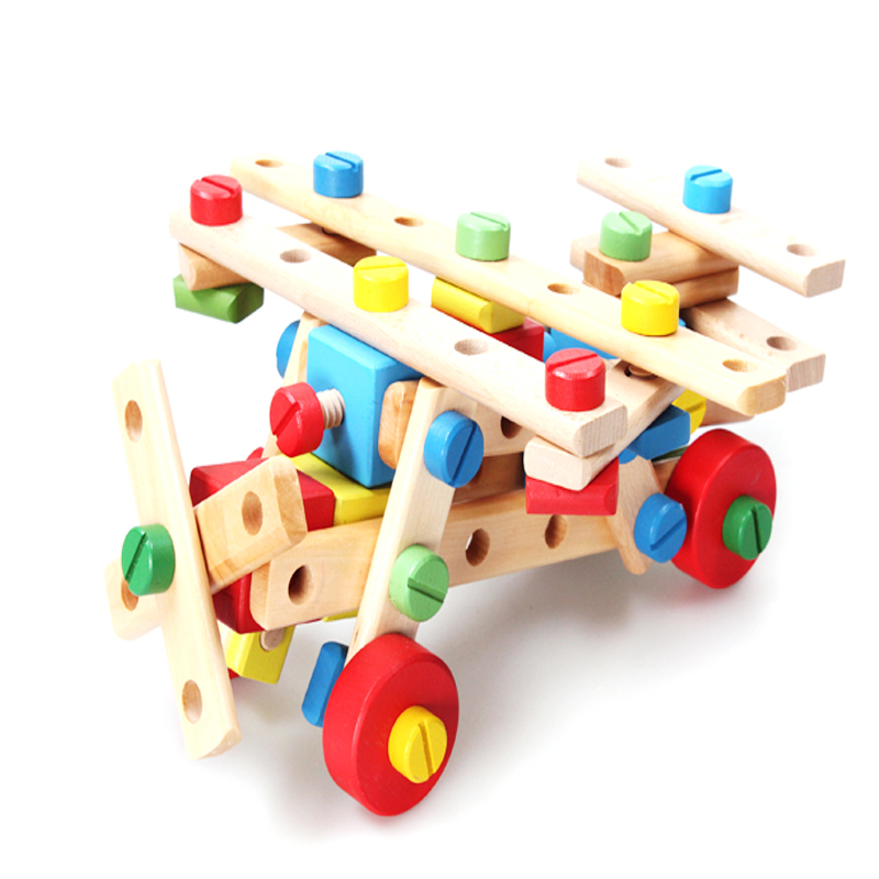 Bear kids children's toys educational toys versatile nut combination toy building blocks assembled years old children