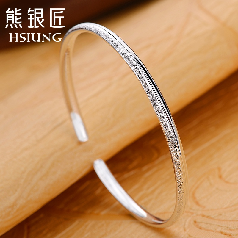 Bear silversmith fine silver bracelet 999 sterling silver ladies wild opening fine silver bracelet korean fashion bracelet to send his girlfriend