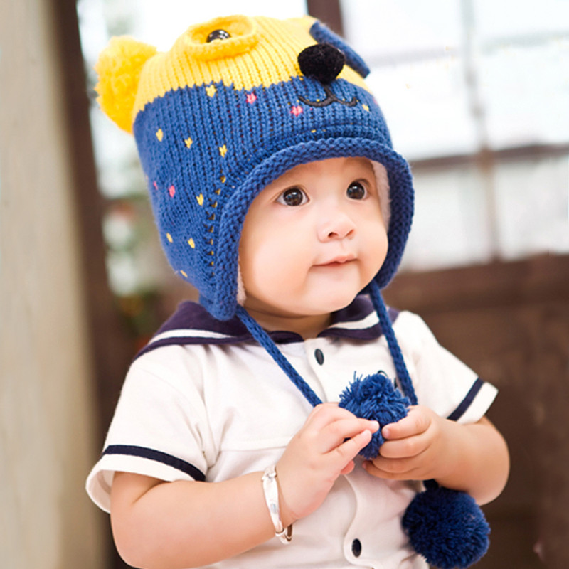 dc7b0f5456e Get Quotations · Bears flowers in autumn and winter plus velvet baby hat  baby hat for men and women