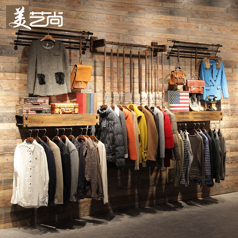 fbfc23d5bfe Get Quotations · Beaux arts yet retro clothing store display rack on the  wall side hung clothing store fitting