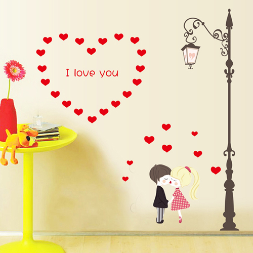 Bedroom wall stickers romantic bedside dormitory bedroom wallpaper decoration sticker removable wall stickers