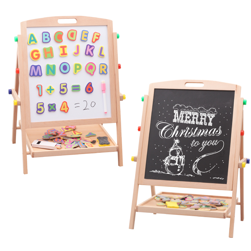 Beech wood easel small blackboard scaffolding children's sketchpad children wordpad baby send magnetic alphanumeric