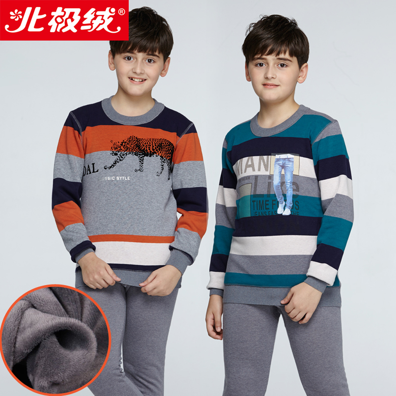 Beiji rong children thermal underwear sets big virgin male striped teenagers plus thick velvet paul warm underwear