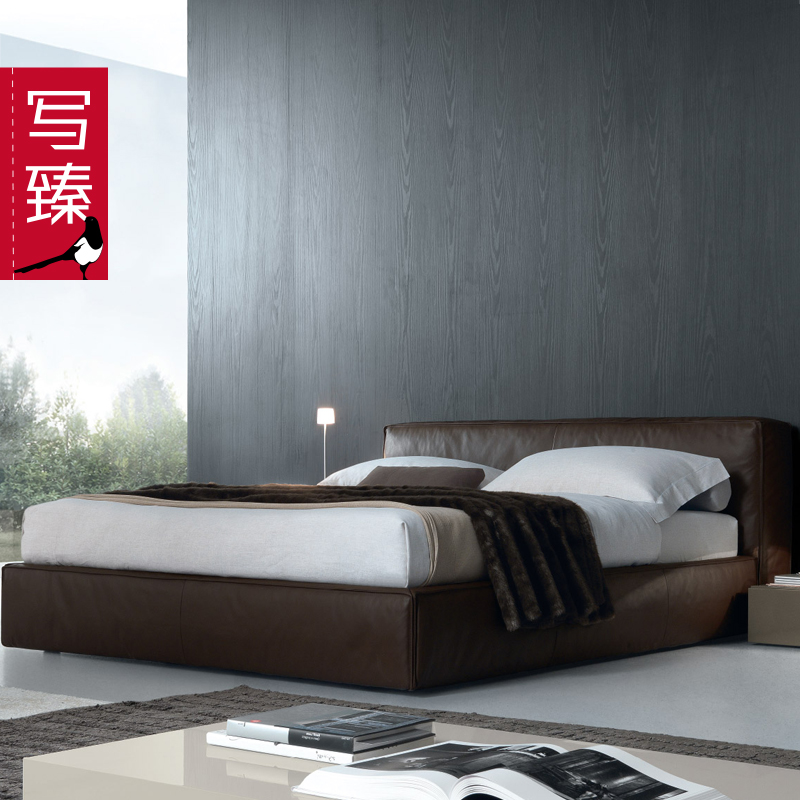Beijing to write zhen modern minimalist italian design marca arts leather software bed 1.8 m double bed cloth bed