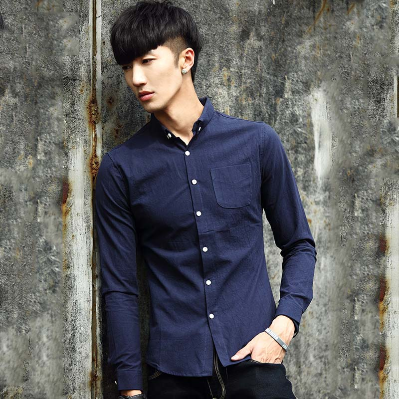 Beimac 2016 autumn new solid color slim korean version of a solid color cotton men's shirts men young students in spring and autumn shirt