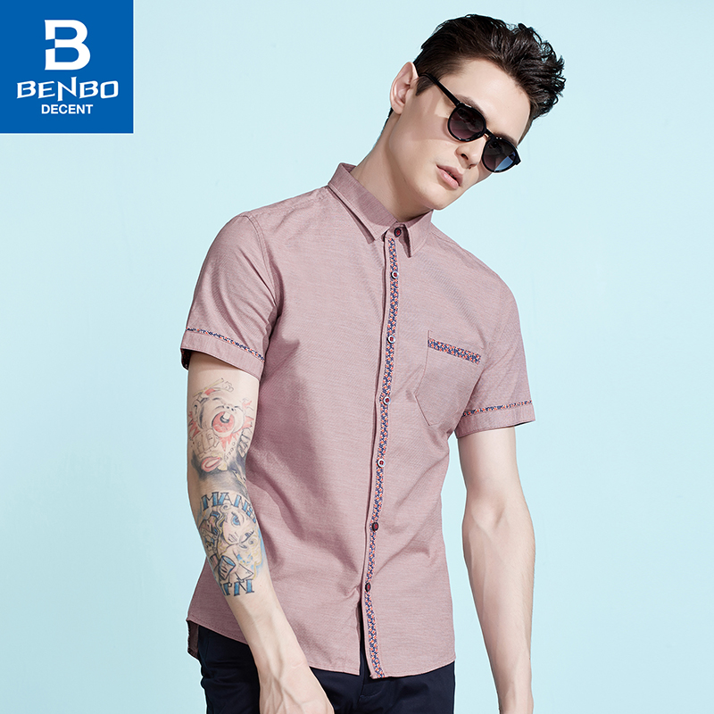 Benbo/bin bao 2016 hot summer men's business casual cotton slim fashion floral short sleeve shirts