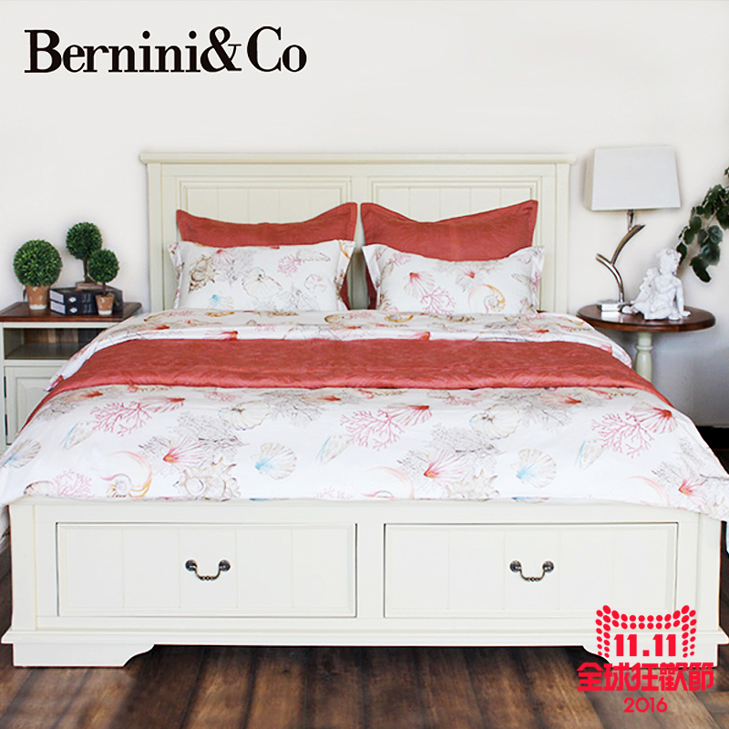 Benigni american country wood bedroom double bed + bedside cabinet 1.8/1.5 mat group in furniture sets