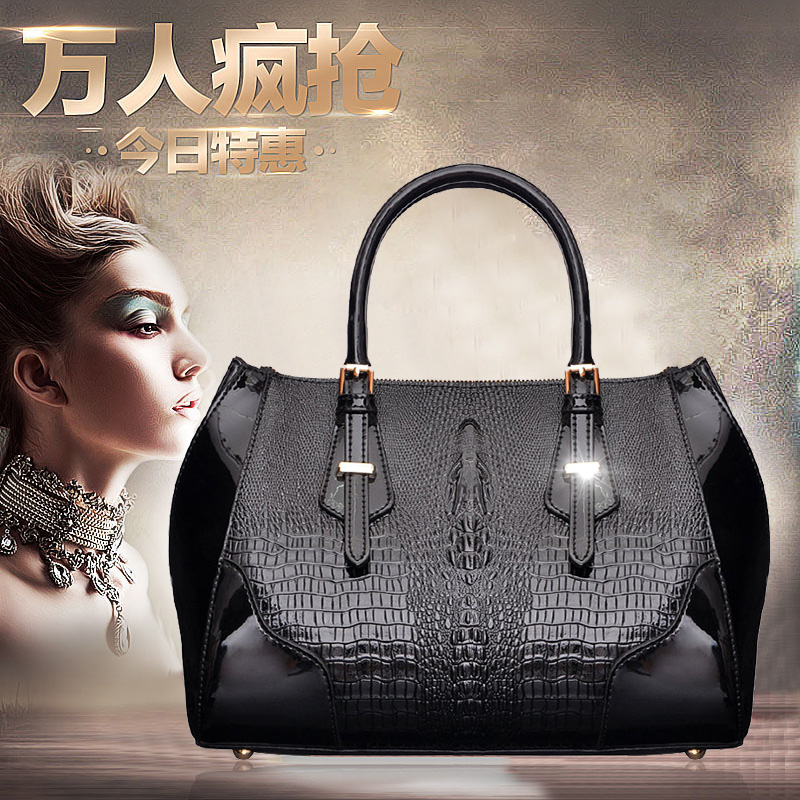 Beza handbags 2014 new wave of female fashion leather handbags patent leather crocodile pattern handbag shoulder bag messenger bag