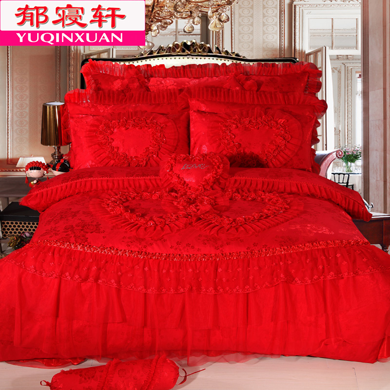 Big red wedding cotton denim cotton bed skirt korean lace wedding bed cover six sets 1.51.8m bedding