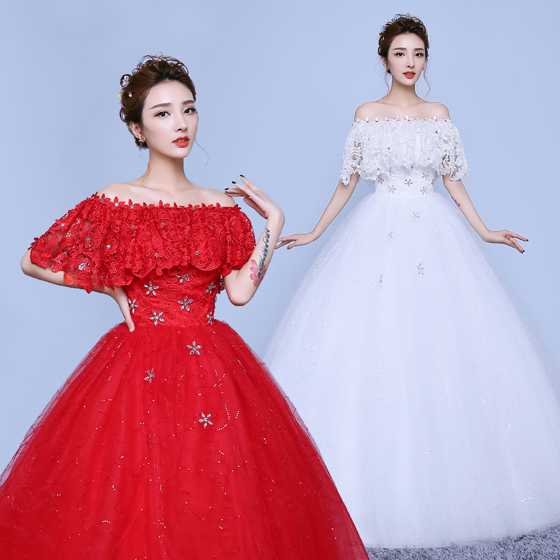 Big red wedding dress 2013 new word shoulder wedding dress qi korean slim was thin wedding dress luxury big