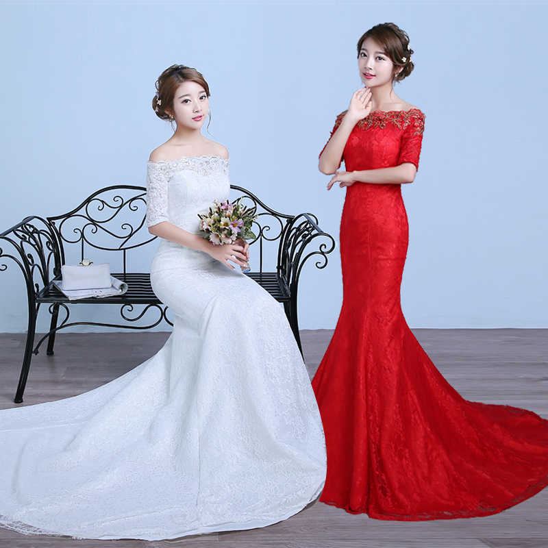 Big red wedding dress slim waist fishtail trailing fishtail wedding dress 2016 new korean qi word shoulder was thin