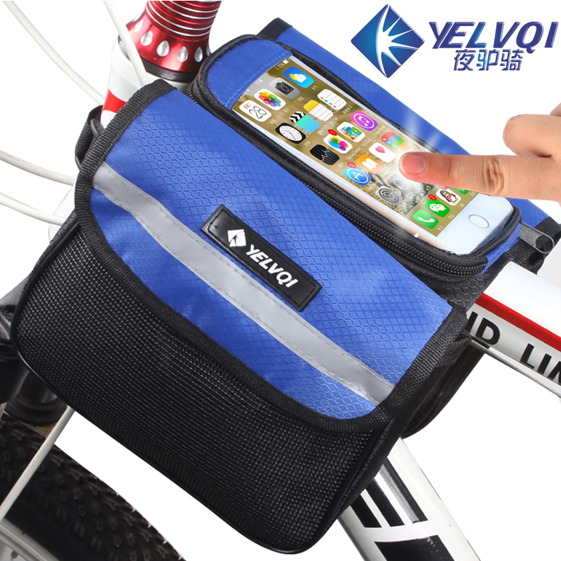 Bike bag pipe bag saddle bag bike bag with cell phone pocket before riding bicycle equipment accessories post