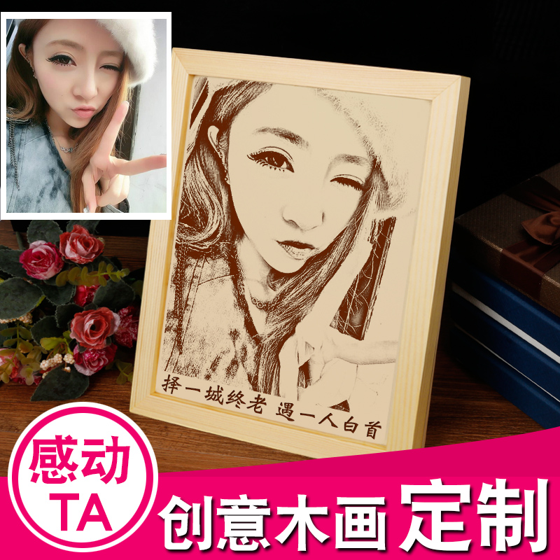 Birthday gift ideas girlfriends girls diy special novelty gift ideas male friends to send his girlfriend woodcut custom photo m03