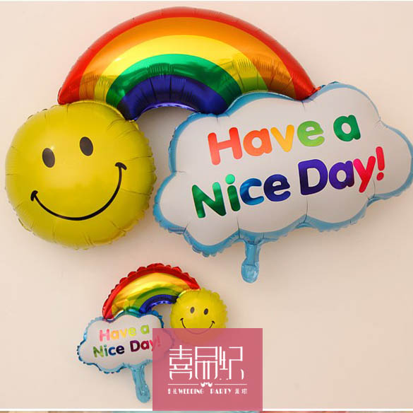 Birthday party decoration supplies party supplies furnished supplies rainbow smiley birthday foil balloon
