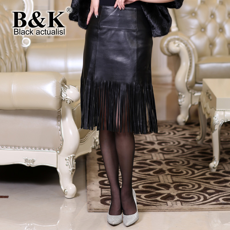 Black actualist 2015 autumn and winter sheep skin leather women in europe and america fringed skirts slim package hip skirt