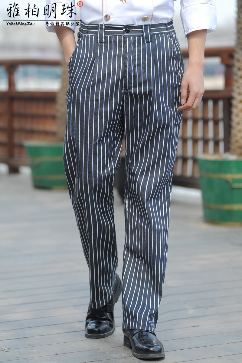 aa5245cb127 Get Quotations · Black and white striped overalls restaurant waiter work  pants chef pants hotel kitchen chef pants uniform