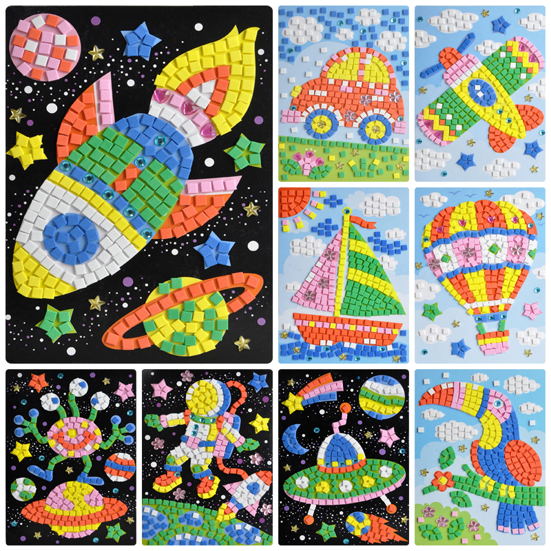 Black baby girl three-dimensional stickers diy 3d diamond crystal mosaic collage eva children handmade materials