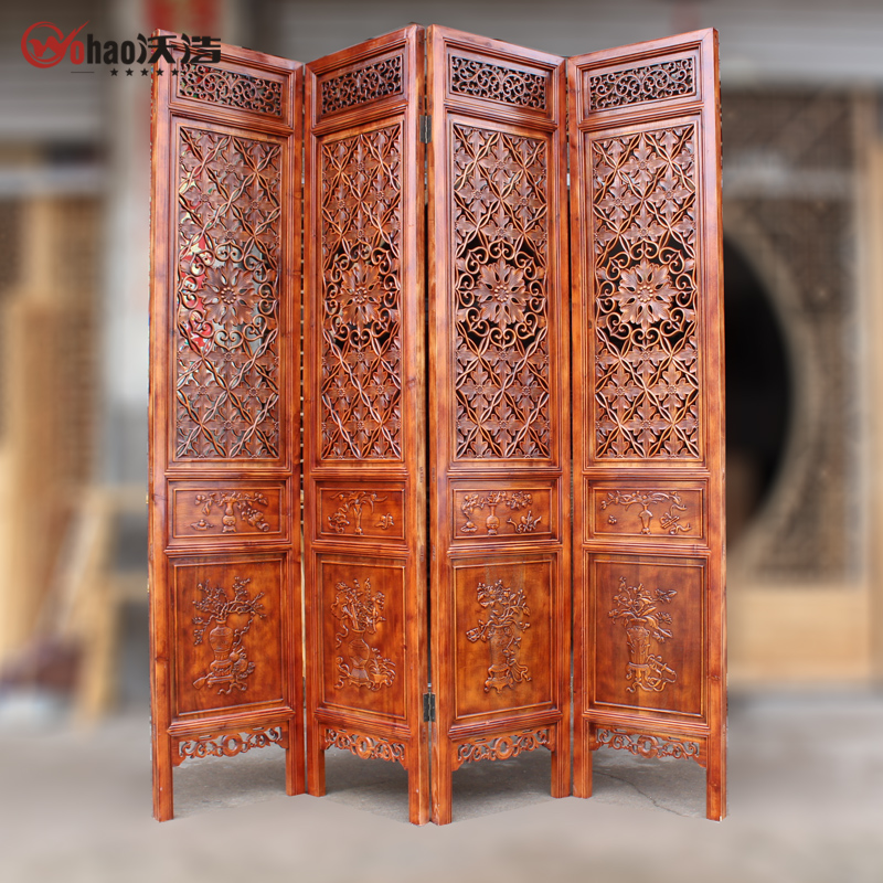 Block screen porch off the living room stylish solid wood carved chinese decoration home indoor folding door folding screen