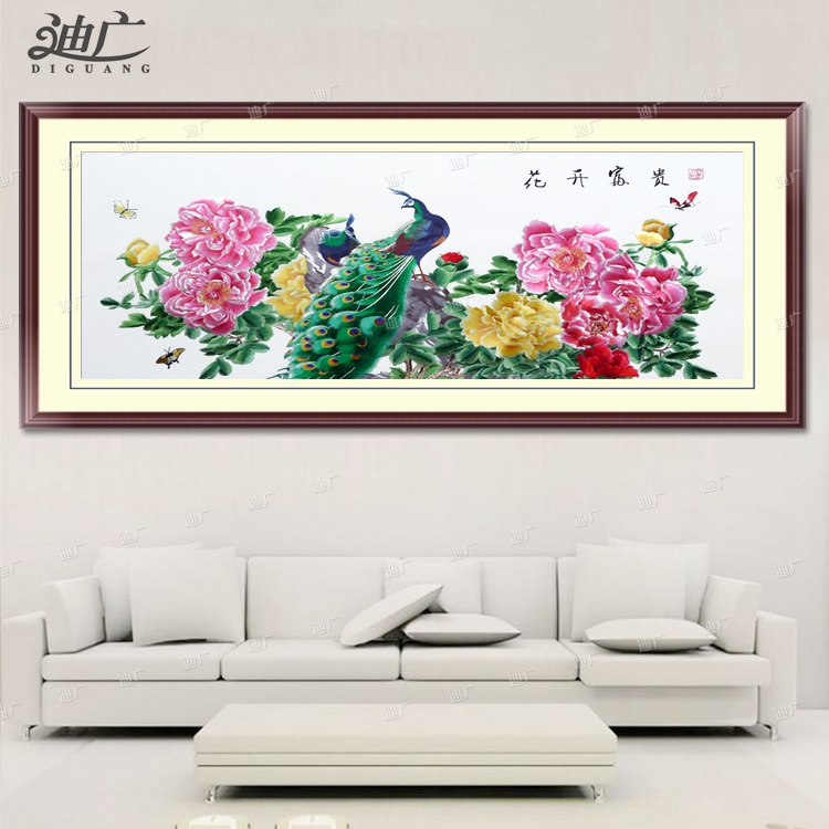Blossoming peacock embroidered silk embroidery finished embroidery soft mounted flat needle mounted suzhou embroidery decorative painting the living room mural paintings